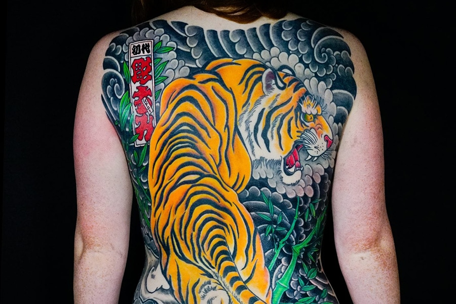 colourful japanese tiger back tattoo authentink