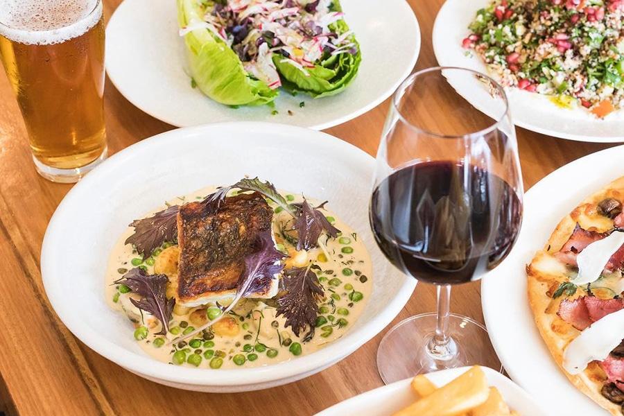 republica lunch spread fish and wine