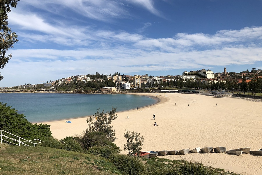 coogee beach from bowling club