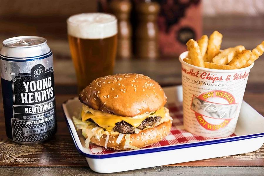 gem bar burger and chips beer