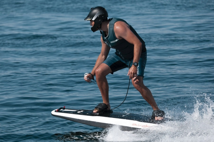 awake electric surfboard in use