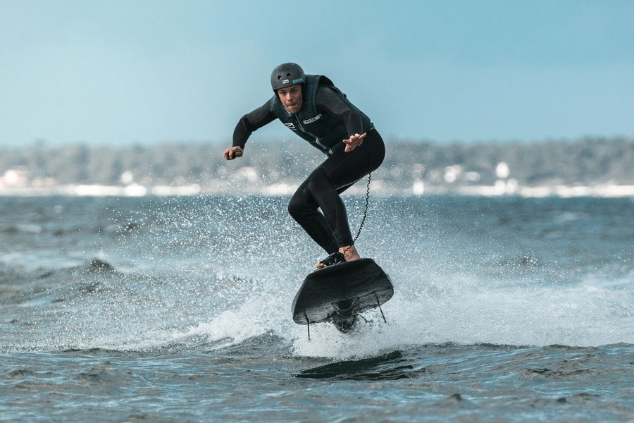 jumping an electric surfboard