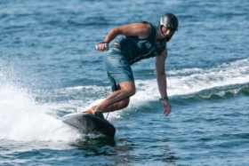 surfing on an electric board