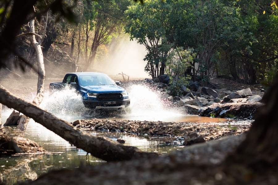 ford ranger raptor in the water