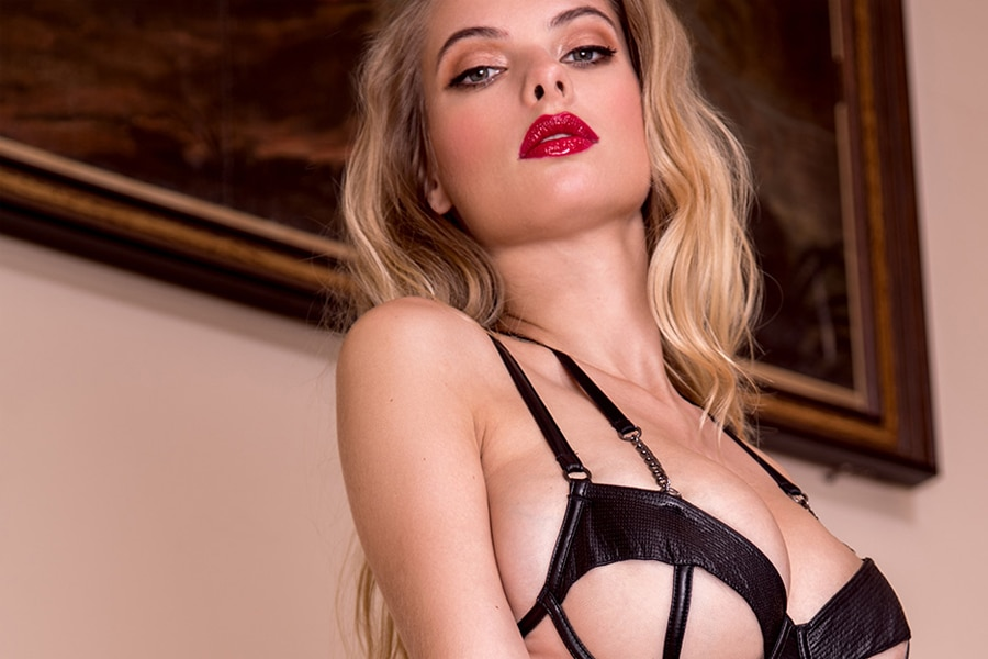 honey birdette women wearing bra with lipstick
