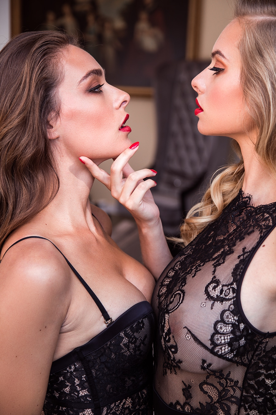 honey birdette two women using red lipstick
