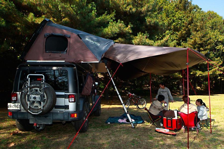 saving space vehicle stowed tent