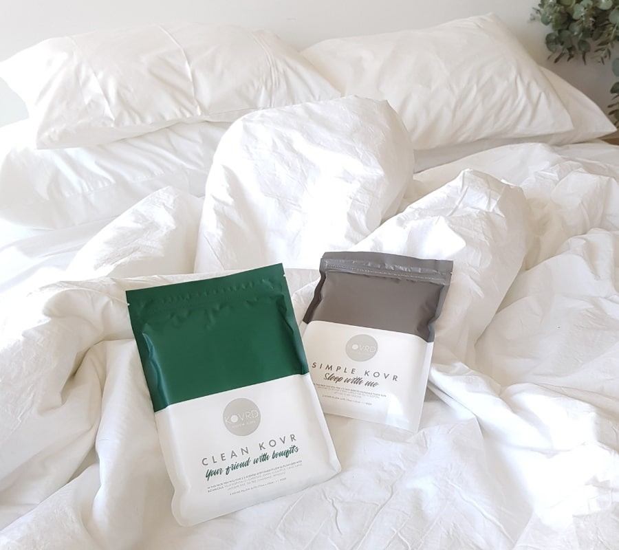 kovrd skin care pillowcases on bed