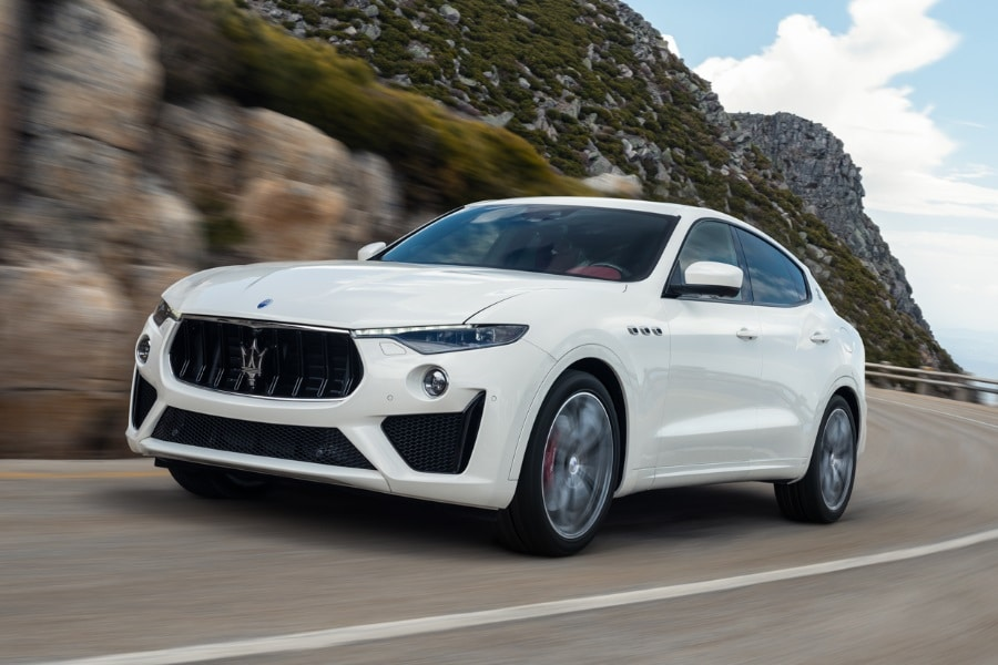 maserati levante gts driving on road