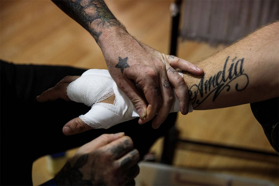 hand bandage of knuckle boxers