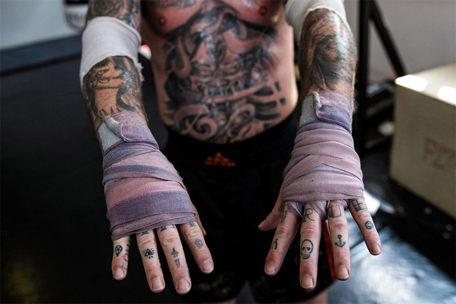 show a boxer hand