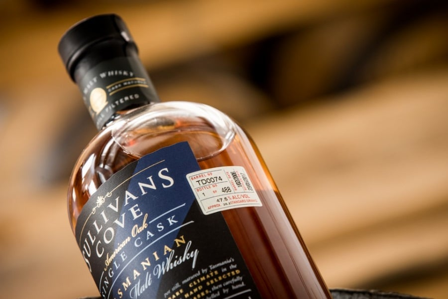 sullivans cove single cask whisky close up