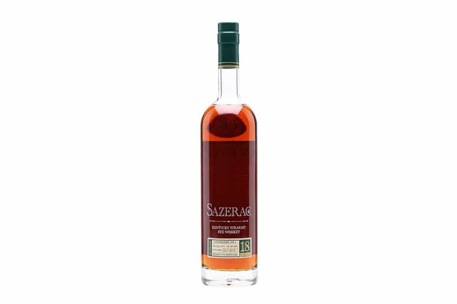 sazerac rye 18 year aged whiskey