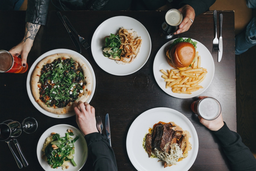 foresters pub and dining lunch flat lay