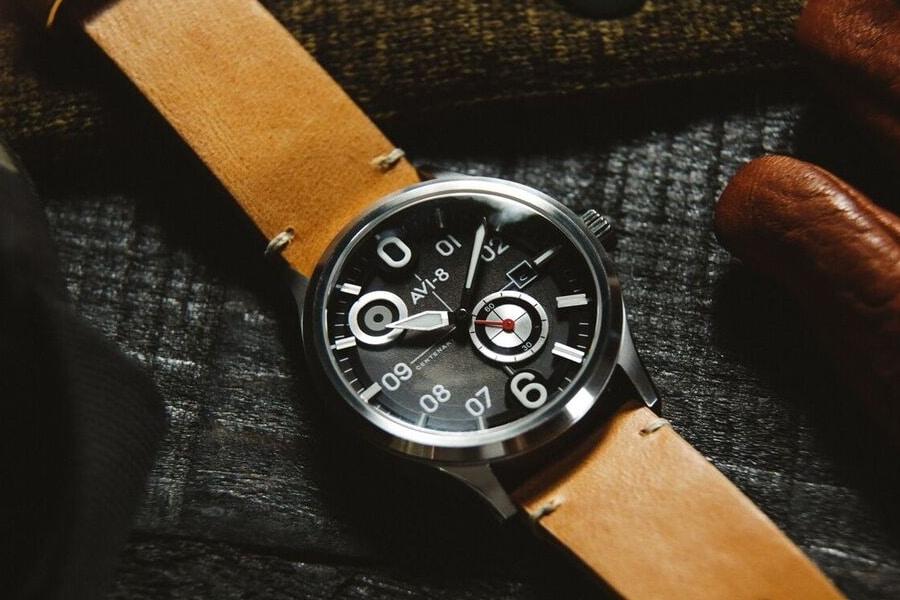 avi 8 centenary flyboy watch leather strap