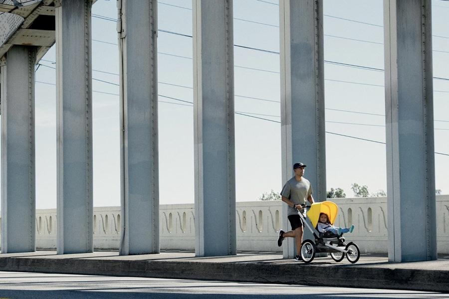 jogging stroller on the road