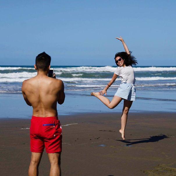 women jumping photo