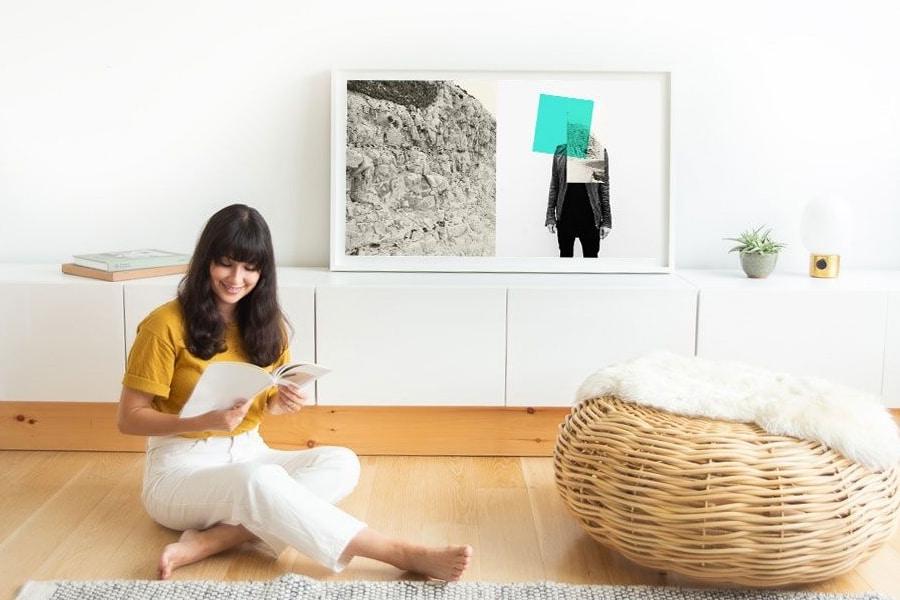 depict digital canvas woman sitting on floor