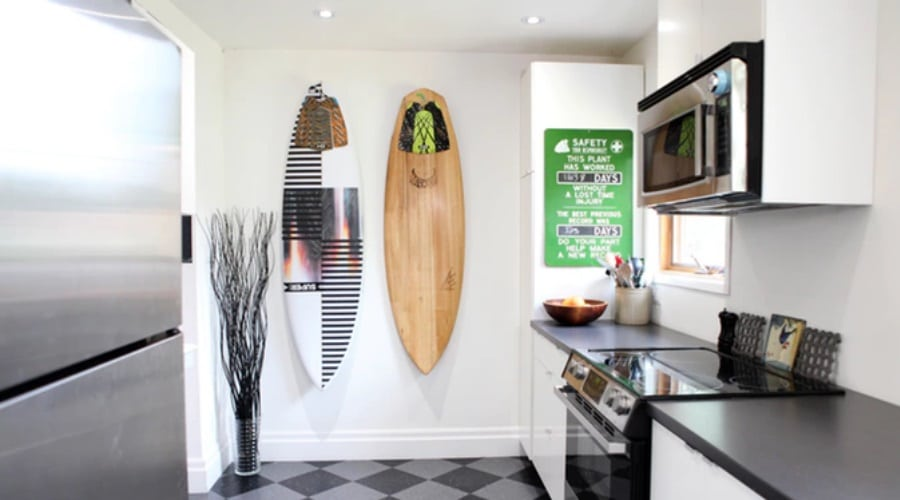 gnarwall wall mounted surfboard kitchen