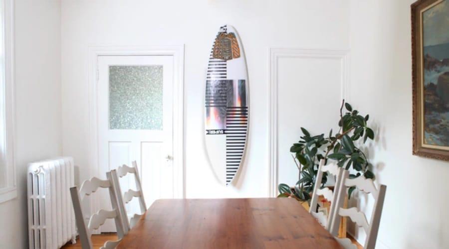 gnarwall wall mounted surfboard dining room