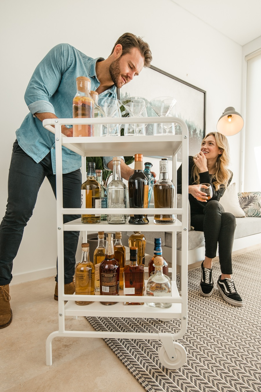 a well stocked bar cart