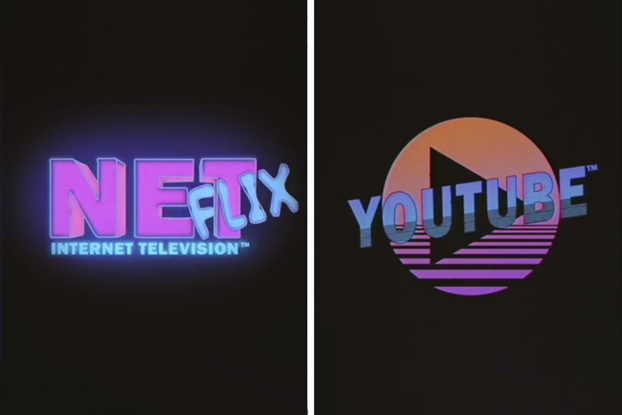 youtube and netflix company logos in eighties