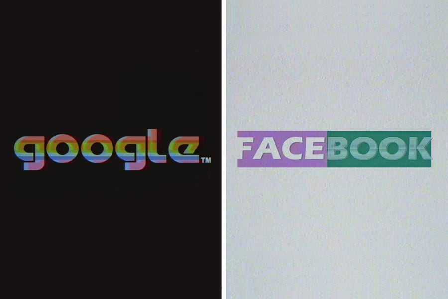 facebook and google 80s company logos