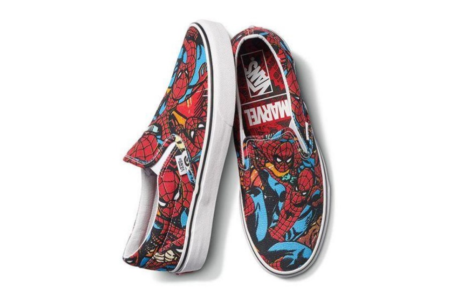 spider man print marvel x vans slip
