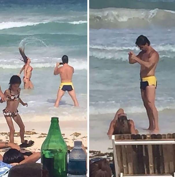smart photographer taking photo at beach