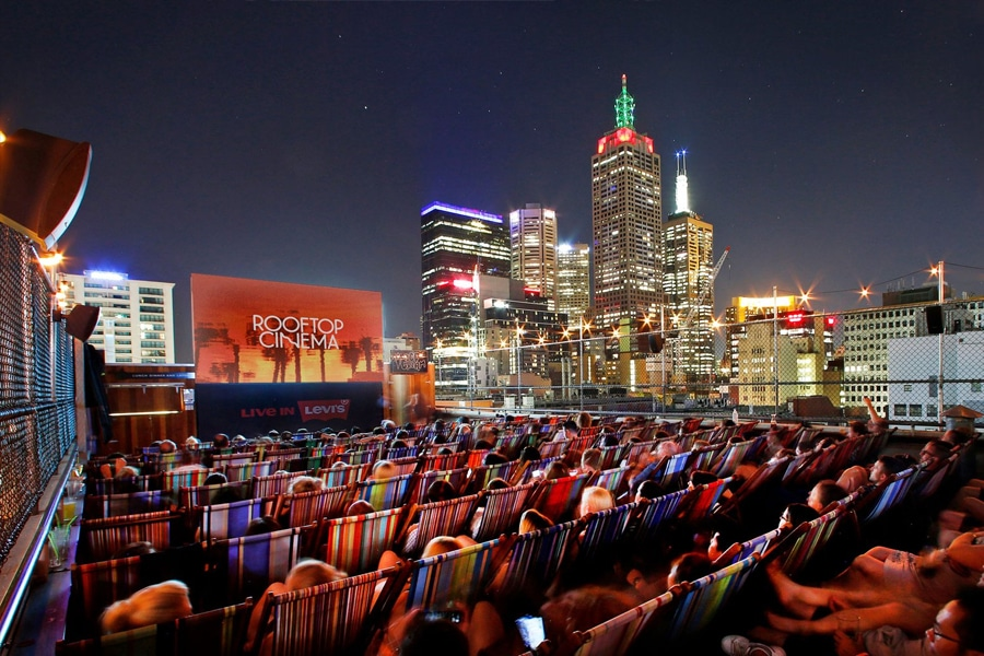 rooftop cinema cityscape
