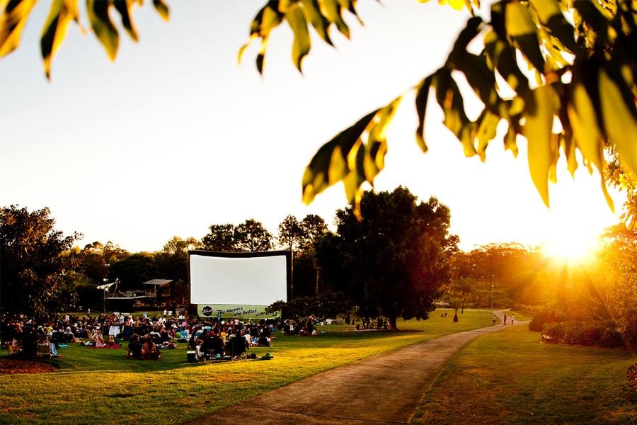 sunset cinema outdoor at sunset