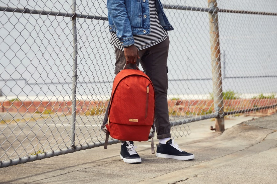bellroy campus backpack red in hand