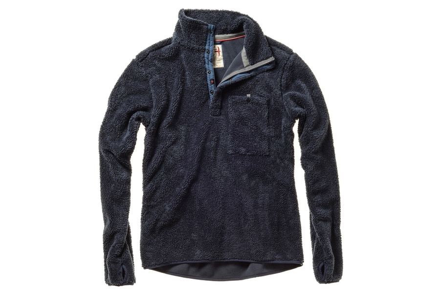 relwen shag fleece pop zip dark navy