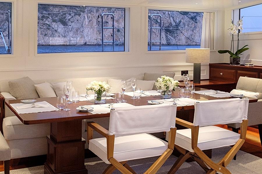 dining area royal huisman yacht
