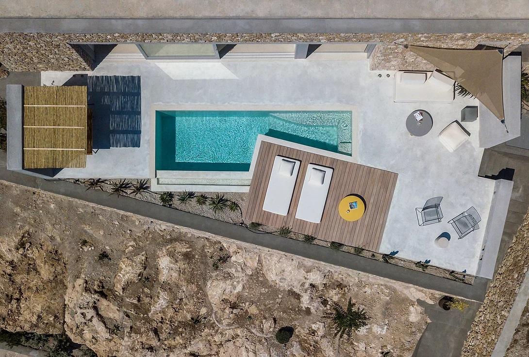 santorini villa birds eye view