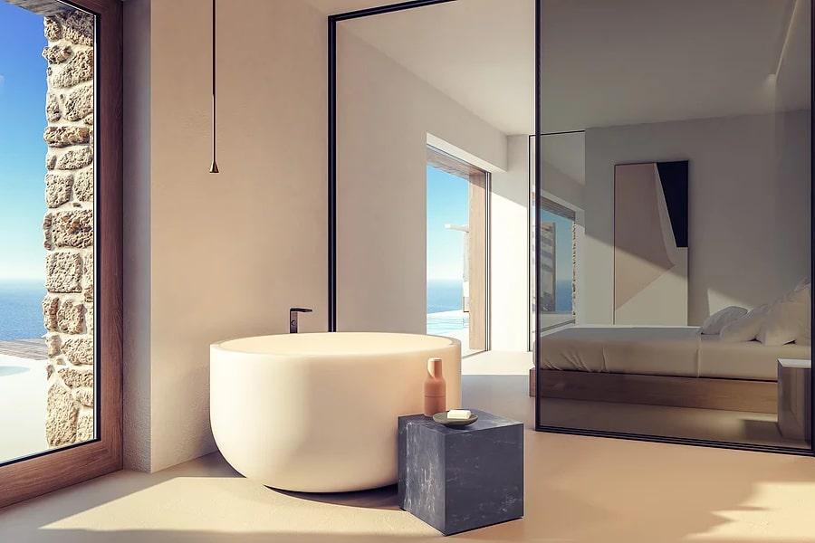 mirror view bedroom santorini villa