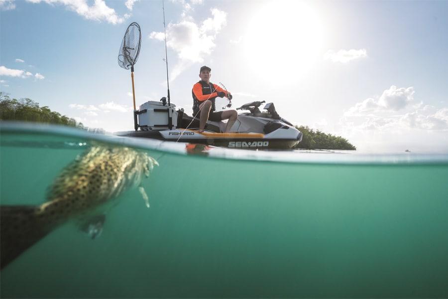 2019 sea doo fish pro in the ocean