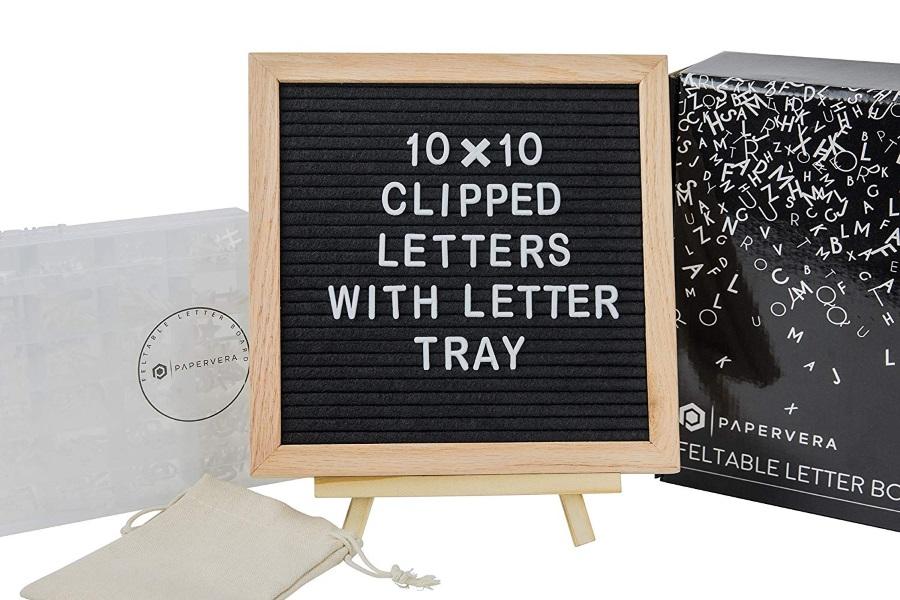 papervera black felt 10 x 10 letter board set