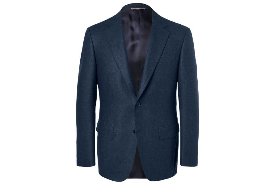 canali storm blue slim fit wool flannel suit jacket
