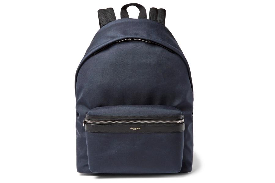 saint laurent city leather trimmed canvas backpack