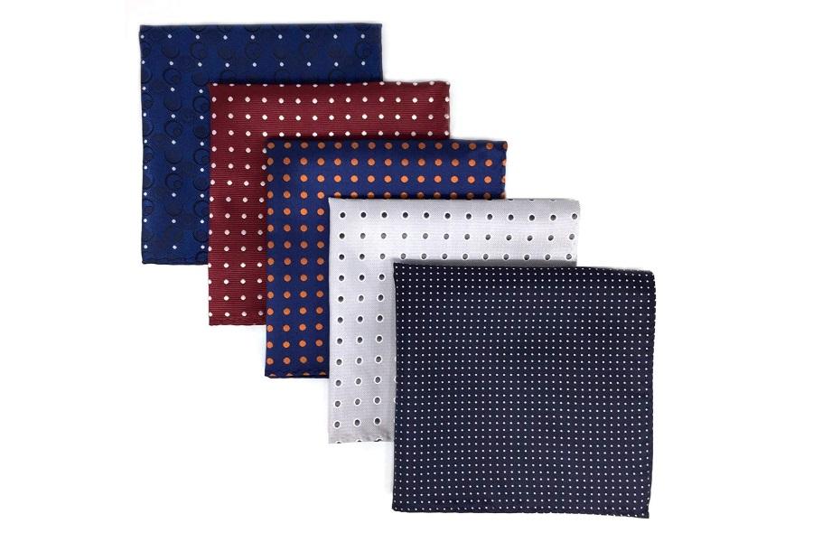 5 pieces assorted mens pocket squares