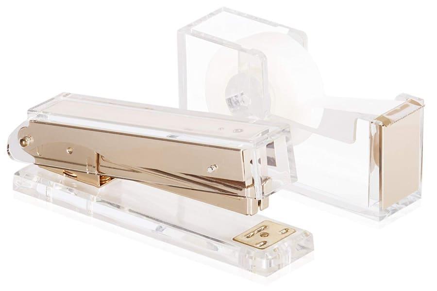 desk swag acrylic gold stapler and tape dispenser