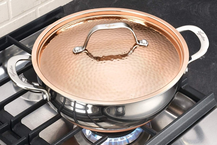 lagostina giada stainless steel dutch oven copper lid