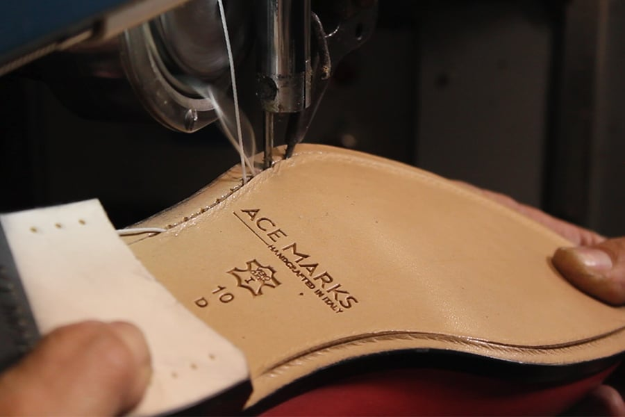 ace marks italian handmade shoes sewing