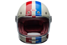bell helmet with red and blue stripe