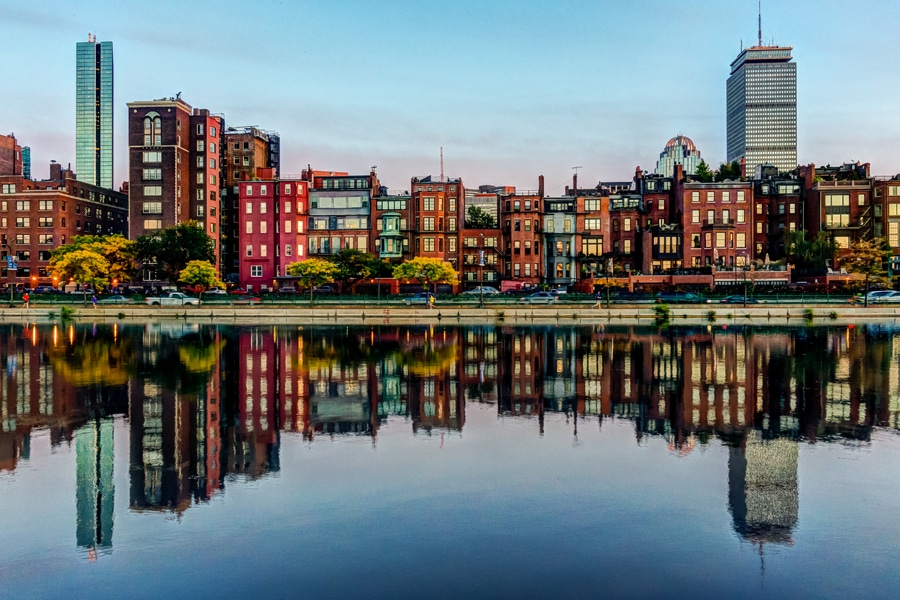 boston back bay reflection charles river