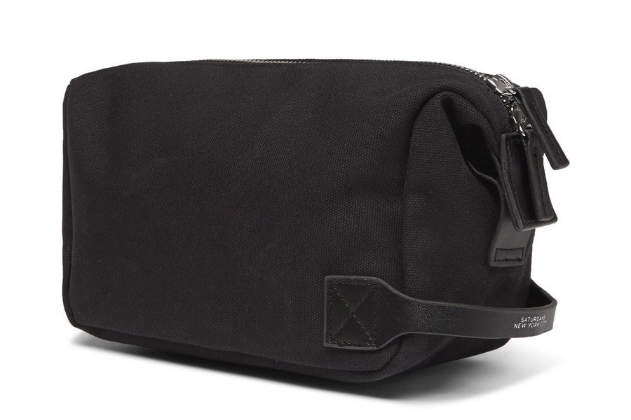 saturdays nyc leather trimmed canvas wash bag