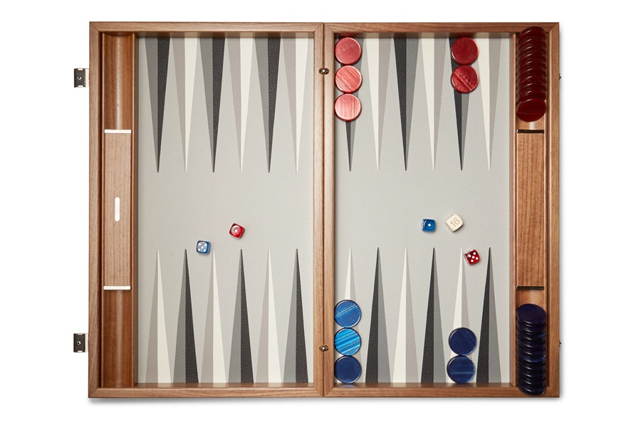 linley walnut wood and leather backgammon set