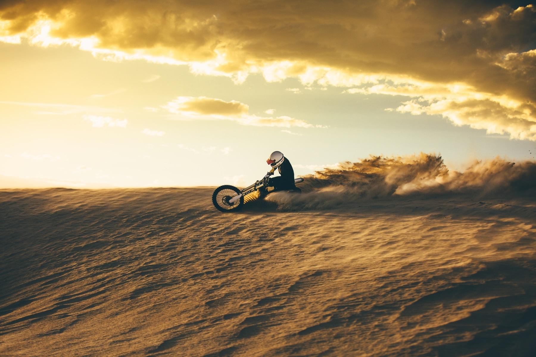 tested saint's motorbike in the dust