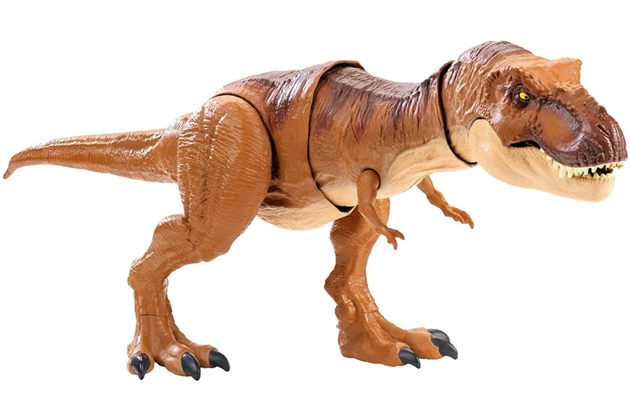 jurassic world thrash n throw tyrannosaurus rex figure